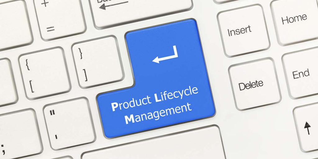 55044762 - close-up view on white conceptual keyboard - product lifecycle management (blue key)
